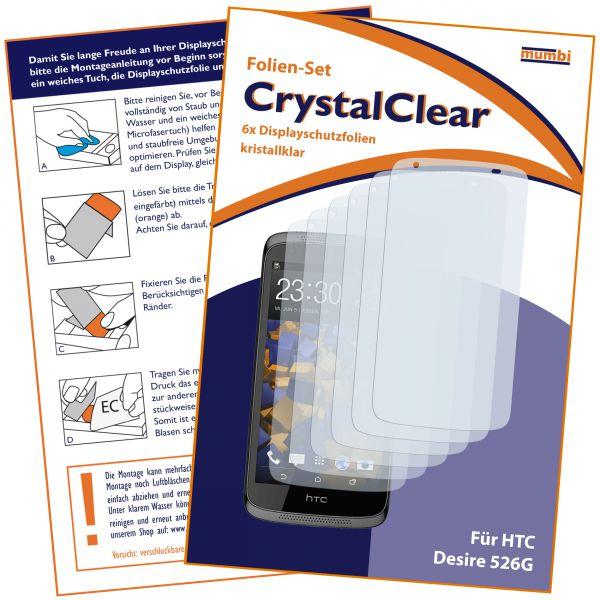 Displayschutzfolie 6 Stck. CrystalClear für HTC Desire 526G