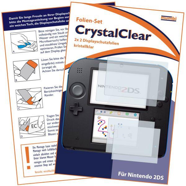 Displayschutzfolie für Bildschirm und Touchscreen 2 Stck. CrystalClear für Nintendo 2DS