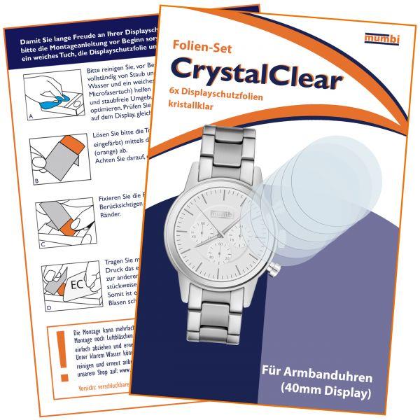 Displayschutzfolie 6 Stck. CrystalClear für Armbanduhren - Ø 40mm