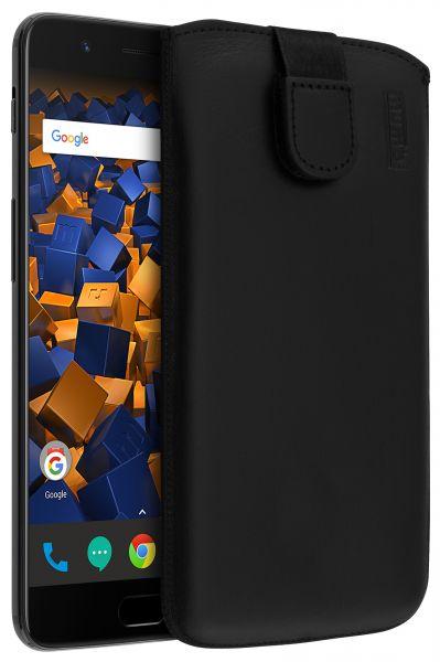 Leder Etui Tasche mit Ausziehlasche schwarz für OnePlus 5