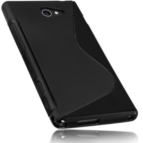 TPU Hülle S-Design schwarz für Sony Xperia M2 / M2 Aqua