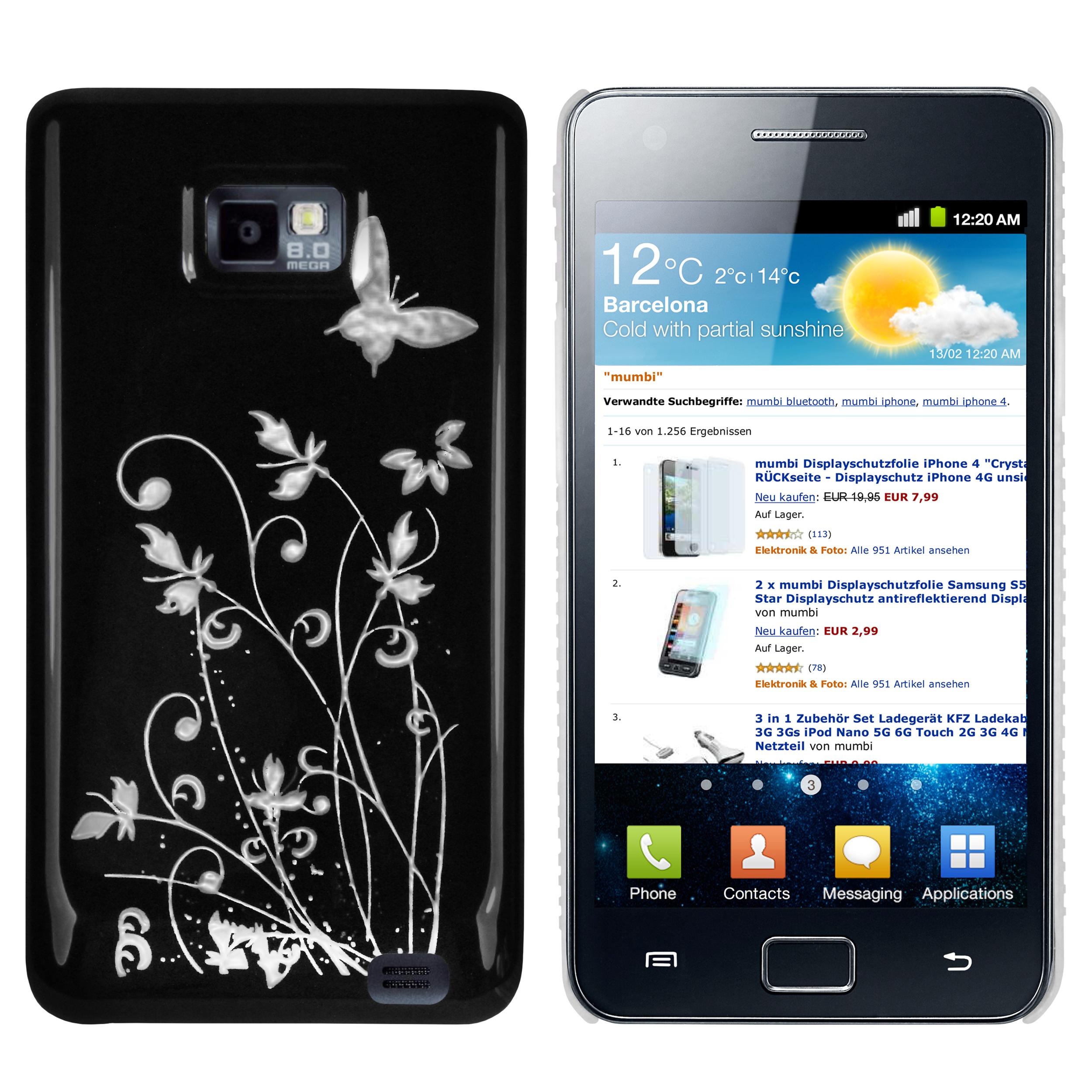 Hard Case Hülle schwarz Schmetterling Blumen für Samsung Galaxy S2 S2 Plus Galaxy S2 S2 Plus Samsung weitere Modelle