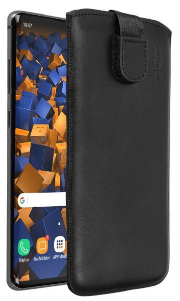 Leder Etui Tasche mit Ausziehlasche schwarz für Samsung Galaxy S10 Plus