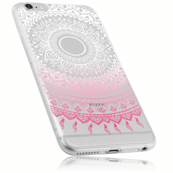 TPU Hülle transparent weiß rosa Motiv Mandala für Apple iPhone 6 Plus / 6s Plus