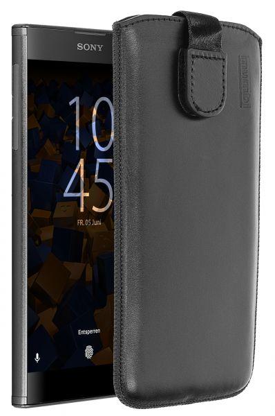 Leder Etui Tasche mit Ausziehlasche schwarz für Sony Xperia XA2