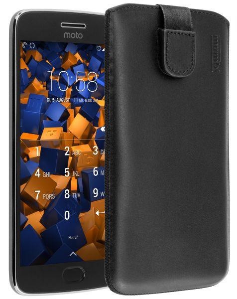 Leder Etui Tasche mit Ausziehlasche schwarz für Motorola Moto G5 Plus