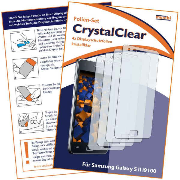 Displayschutzfolie 4 Stck. CrystalClear für Samsung Galaxy S2