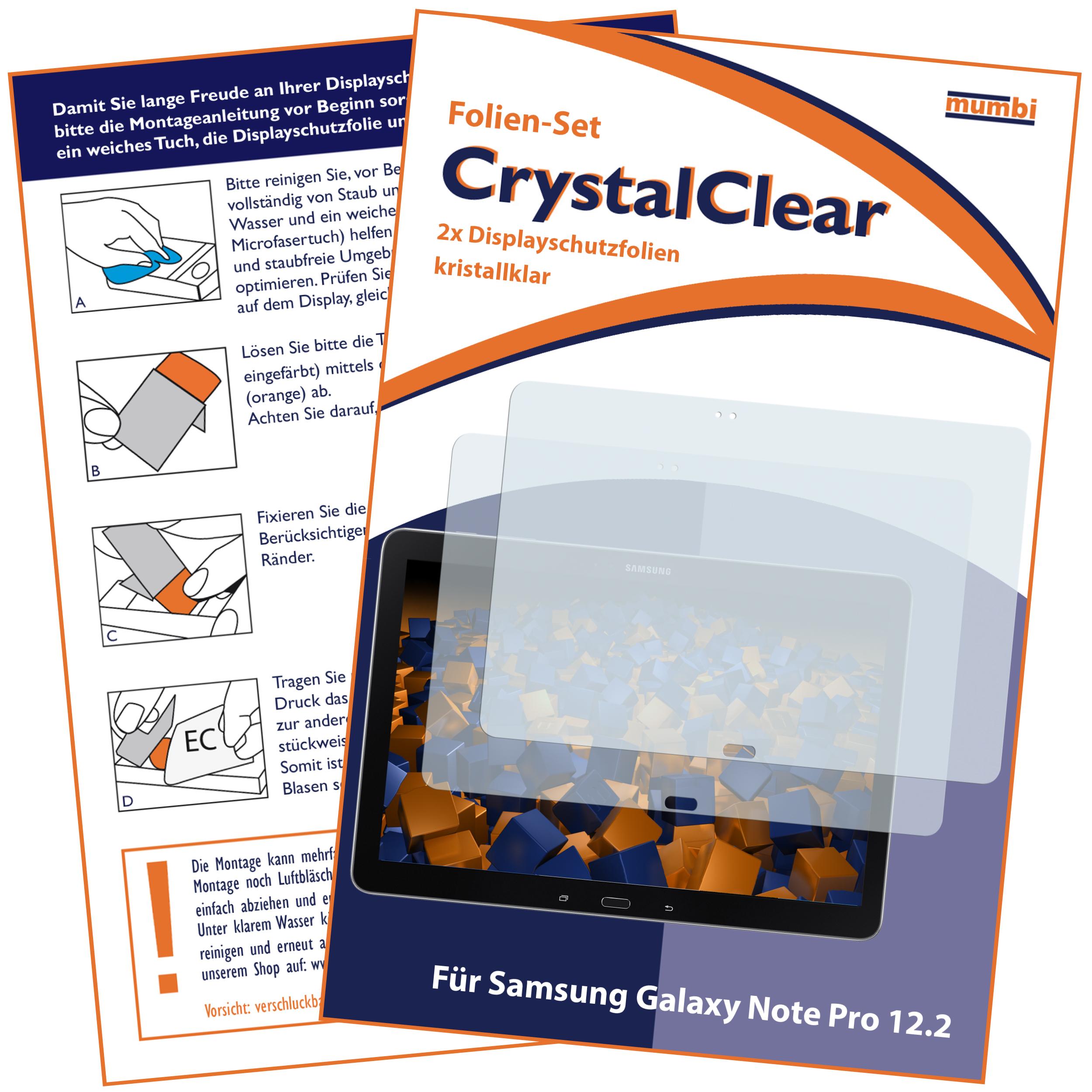 Displayschutzfolie 2 Stck CrystalClear für Samsung Galaxy Note Pro Galaxy Note 8 Note 10 1 Note Pro Samsung weitere Modelle