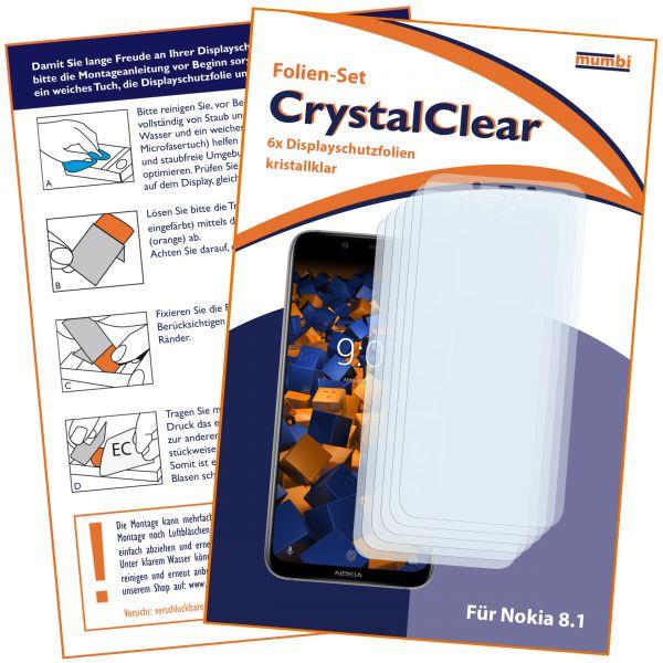 Displayschutzfolie 6 Stck. CrystalClear für Nokia 8.1
