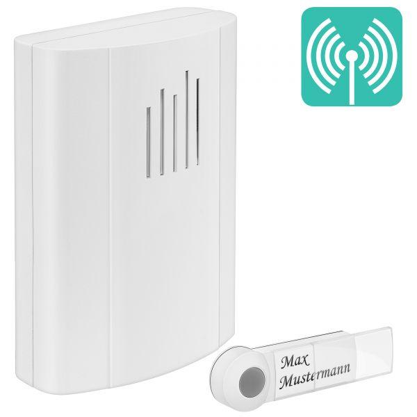 Batteriebetriebene Türklingel mit Funk-Klingelknopf in Weiß m-TG100