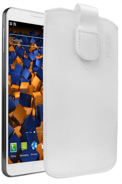 Leder Etui Tasche mit Ausziehlasche weiß für Samsung Galaxy Note 3 / Neo