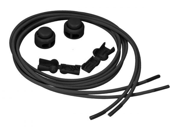 Elastische Schnürsenkel mit Schnellspanner in Schwarz