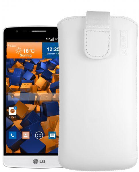 Leder Etui Tasche mit Ausziehlasche weiß für LG G3s