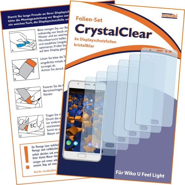 Displayschutzfolie 6 Stck. CrystalClear für Wiko U Feel Prime