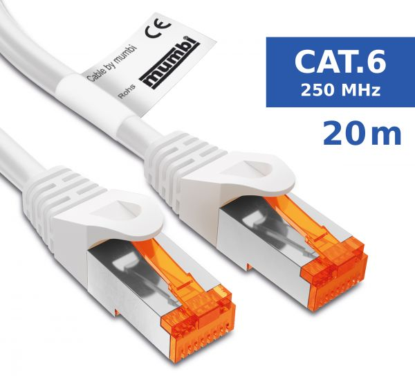 CAT.6 Ethernet Lan Netzwerkkabel 20 Meter Kabel in Weiß